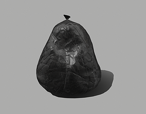 Black Plastic Garbage Bag 3D model