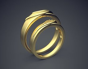 Textured Layered Golden Wedding Rings with 3D print model