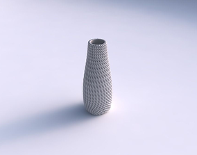 3D printable model Vase with bent extruded pattern