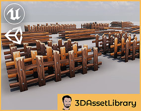 3D asset Stylized Fence Set Vol 1 For Unreal And