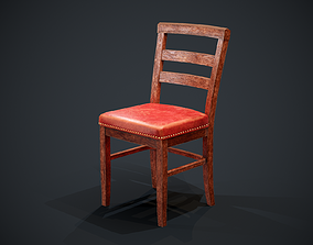 Low Poly Wooden Chair PBR 3D asset