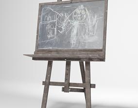 Kids easel with blackboard 3D model