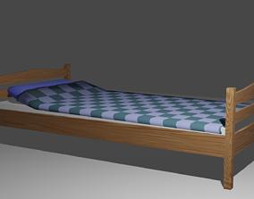 3D asset Single bed
