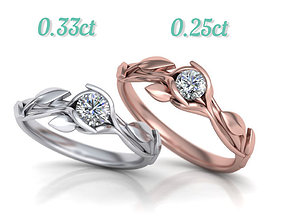 Leaves Engagement ring two Stone sizes 3D print model