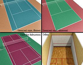 3D model Court Tennis badminton squash