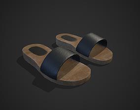 Wood - Leather Slipper 3D model