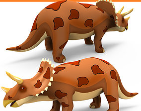 animated 3D Models Cartoon Triceratops Rigged and