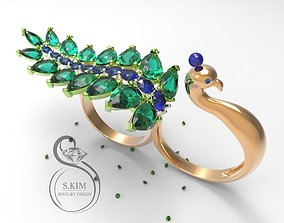 3D print model Peacock peafowl ring two fingers dual