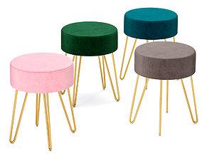 3D Duhome Modern Velvet Upholstered Ottoman