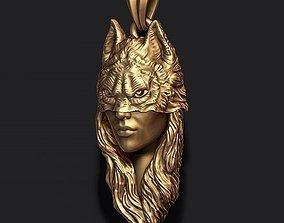 3D printable model girl wolf pendant
