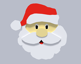 3D model Low Poly Cartoon Santa Claus Face Decorative
