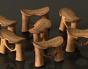 Headrest Africa Wood Furniture Prop 42 3D model