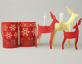 New Year Lanterns and Candleholders 3D model