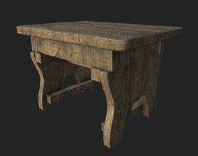 3D model VR / AR ready Wooden Stool