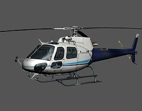 3D asset low-poly Rigged Helicopter