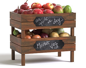 Crates with fruit and vegetables 3D