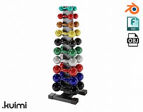 3D model Gym Dumbell Set 001