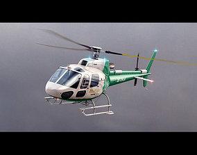 3D model animated Eurocopter AS 350 MedFlight