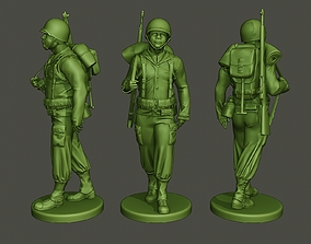 3D print model American soldier ww2 walking A5