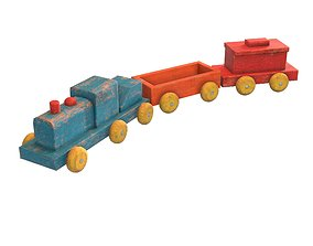 3D model game-ready Old Toy Train