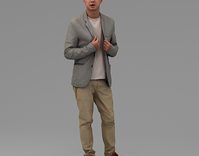 A Middle-aged Man Standing Alone 3D model