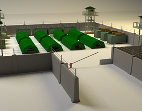 military base pack lowpoly for game and 3d
