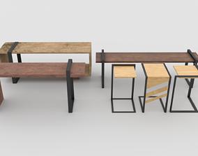 Wooden Black Furniture Pack 1 3D asset
