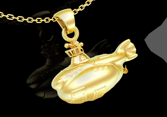 Small Submarine pendant jewelry gold necklace medallion 3D print model
