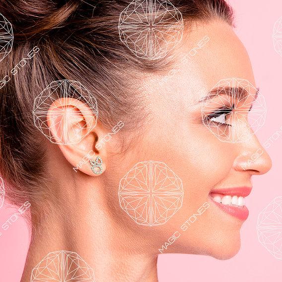 Demonstration of earrings on a woman