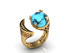 3D printable model turquoise ring moon earth