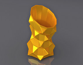 Oblique Triangle Notched Vase Geometric Shape 3D Printing