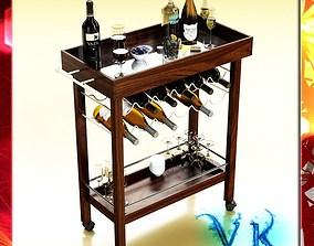 Wine Table Rack Bottles and Glasses 3D model