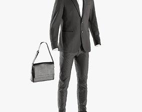 3D model Mens Business Suit with Shirt Shoes Bag 6