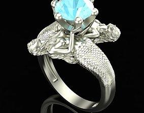 Mermaid Ring with Topaz 3D printable model