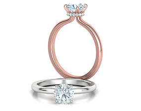 Solitaire Engagement ring 1ct Stone Under Halo