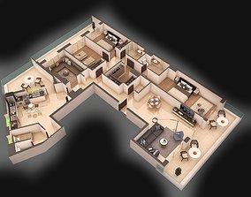 sofa 3d apartment floorplan