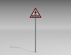 3D model Pedestrian crossing sign