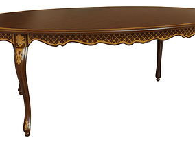 3D Classic table with inlaid veneer 2100