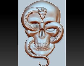 SKULL AND SNAKE MODEL OF BAS-RELIEF