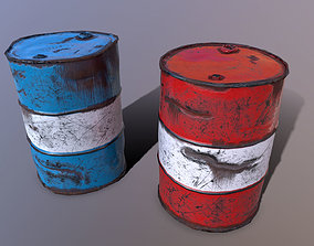 3D model Metal Barrels low poly Game ready PBR