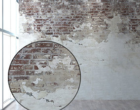 3D model Aged wall with brick walls