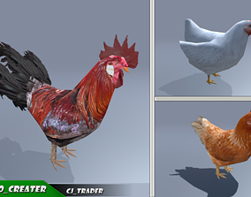 Low-Poly Chicken Collection Pack animated 2