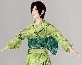 T pose nonrigged model of Rina in kimono