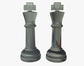 3D King Chess Pieces Glass realistic