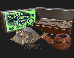 3D asset Old Tobacco Tin - Skipper Navy Cut