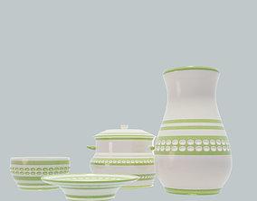 3D Tableware set green