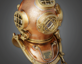 Old Divers Helmet - HAT - PBR Game Ready 3D model