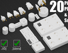 20 Pieces electrical plugs and sockets set - 3D model 2