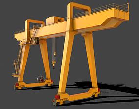 3D asset PBR Double Girder Gantry Crane V1 - Yellow