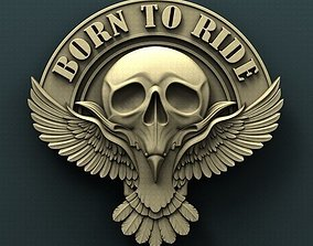 3d STL Model for CNC Router Bikers Skull